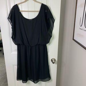 Pinc flowy black dress LBD pouf lined type size 2X